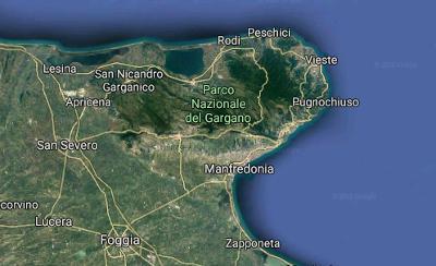 Mappa del Gargano in Puglia.